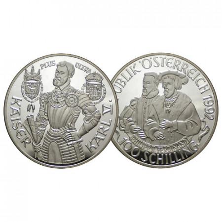 """1992 * 100 Schilling Argent Autriche - """"Kaiser Karl V"""" (KM 3007) BE"""