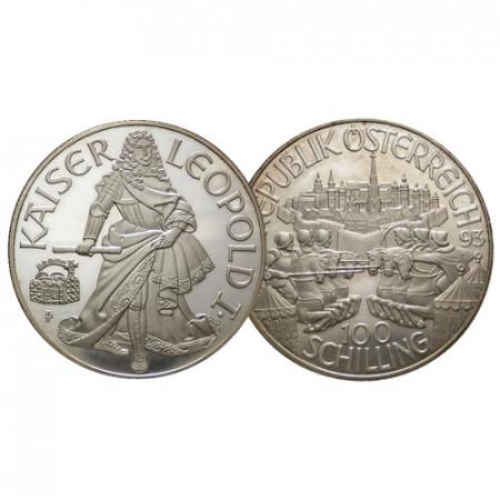 """1993 * 100 Schilling Argent Autriche - """"Leopold I"""" (KM 3009) BE"""