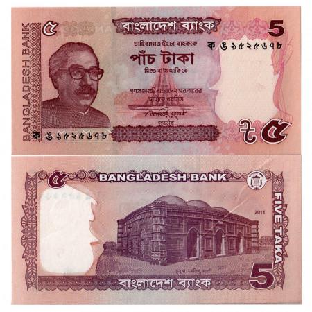 "2011 * Billete Bangladés 5 Taka ""SM Rahman"" (p53a) NEUF"