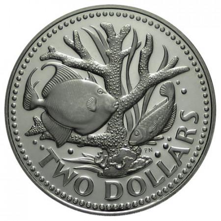 1976 * 2 dollars Barbade 10e Indépendance