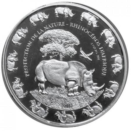 """2015 * 1000 Francs 1 OZ Bénin """"Rhinocéros Africain"""" BE"""