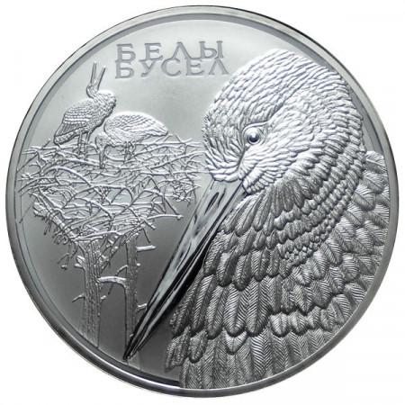 """2009 * 20 Rubles Argent Biélorussie """"Cigogne Blanche"""""""