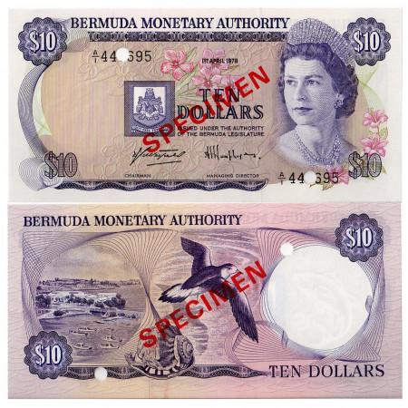 "1978 * Billet Bermudes 10 Dollars ""Specimen"" (p30s) NEUF"