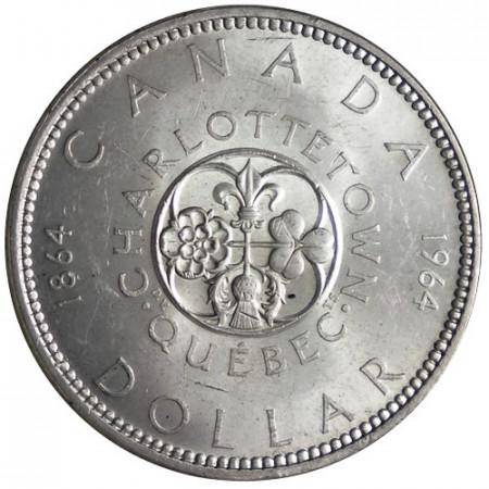 "1964 * 1 Dollar Argent Canada ""Charlottetown - Quebec"" (KM 58) UNC"