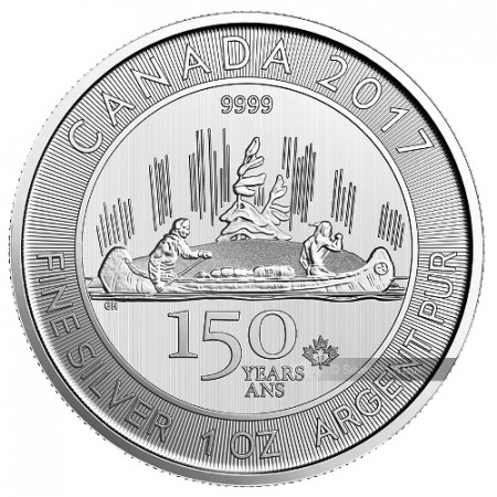 """2017 * 5 Dollars Argent 1 OZ Canada """"150e Confédération - Canu"""" BU"""