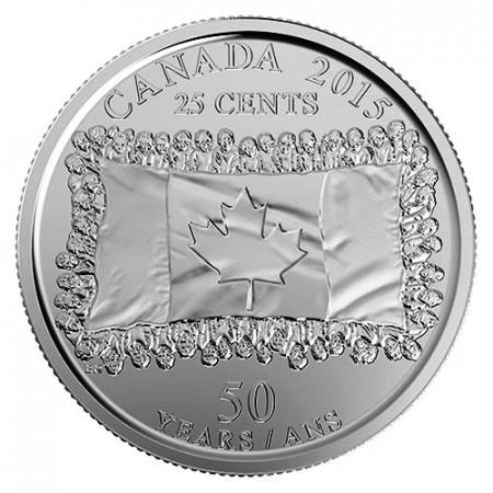 """2015 * Quart de Dollar 25 Cents Canada """"50e Drapeau Canadien"""""""