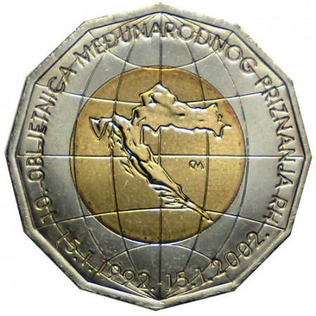 "2002 * 25 Kuna Croatie ""Reconnaissance Internationale de la Croatie"""
