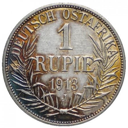 """1913 J * 1 Rupie Argent Afrique Orientale Allemande """"Guillaume II"""" (KM 10) SUP-FDC"""