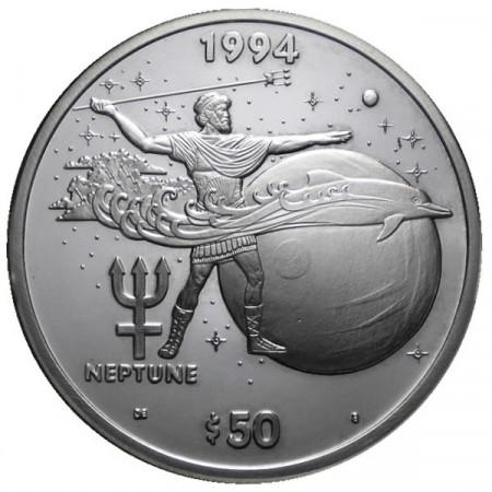1994 * 50 Dollars en argent 1 OZ Îles Marshall Neptune