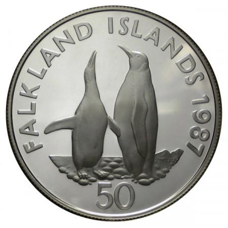 "1987 * 50 Pence Argent Îles Malouines ""25e Fondation WWF"" (KM 25a) BE"