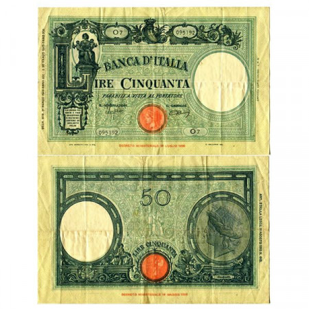 """1943 (31/03) * Billet Italie Royaume 50 Lire """"Grande L - Barbetti"""" Testina, Fascio BI.200 (p64) prTTB"""