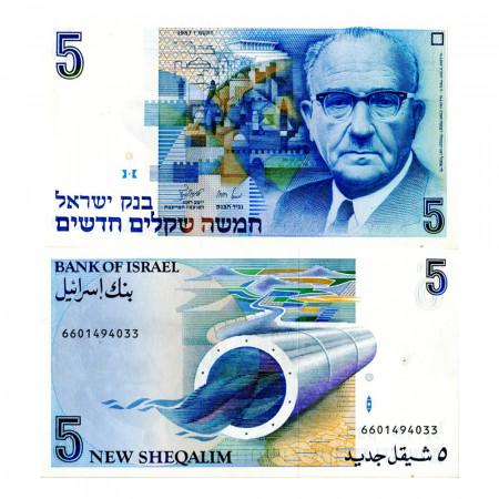 "1987 (5747) * Billet Israël 5 New Sheqalim ""Levi Eshkol, Stylized Cityscape of Jerusalem"" (p52b) NEUF"