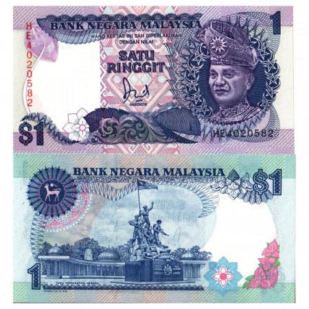 """ND (1989) * Billet Malaisie 1 Ringgit """"King Tuanku Abdul Rahman"""" (p27B) NEUF"""