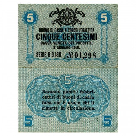 "1918 * Billet Italie 5 Centesimi ""Buono di Cassa Veneta - Occupation Austro-Allemande"" (pM1) SUP"