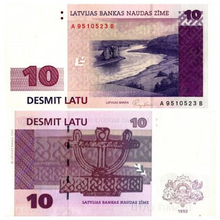 "1992 * Billet Lettonie 10 Rublu ""Daugava River"" (p44) NEUF"