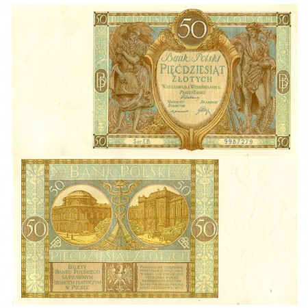 "1929 * Billet Pologne 50 Zlotych ""Mercury"" (p71) NEUF"