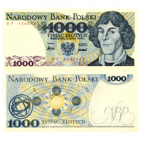 """1975 * Billet Pologne 1000 Zlotych """"Nicolaus Copernicus"""" (p146a) NEUF"""
