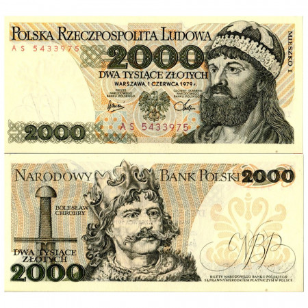 """1979 * Billet Pologne 2000 Zlotych """"Duke Mieszko I"""" (p147b) NEUF"""