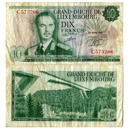 "1967 * Billet 10 Francs Luxembourg ""Grand Duke Jean"" (p53a) TB"