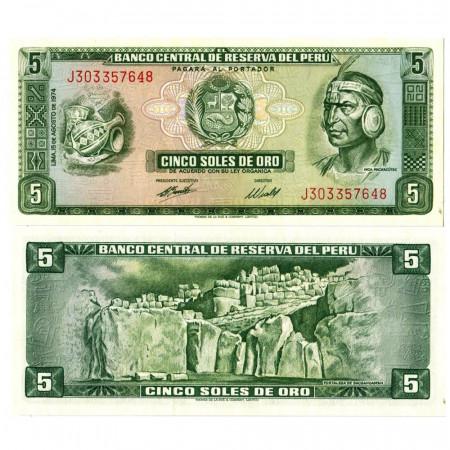 """1974 * Billet Pérou 5 Soles de Oro """"Inca Pachacútec"""" (p99c) NEUF"""