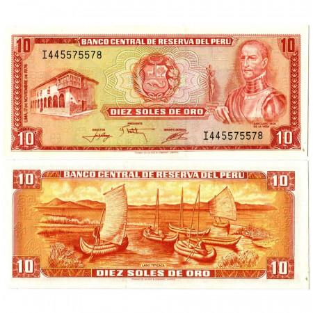 """1976 * Billet Pérou 10 Soles de Oro """"Garcilaso Inca de la Vega"""" (p112) NEUF"""