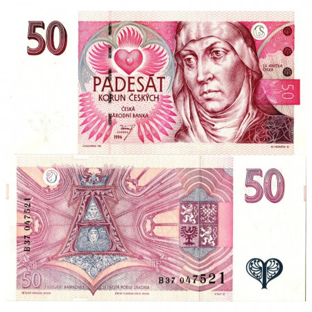 """1994 * Billet République Tchèque 50 Korun """"St. Agnes of Bohemia"""" (KM 11) NEUF"""