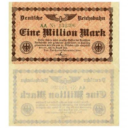 """1923 * Billet Allemagne Chemin de Fer 1 Million - 1.000.000 Mark """"Deutsche Reichsbahn Berlin"""" (pS1011) SUP"""