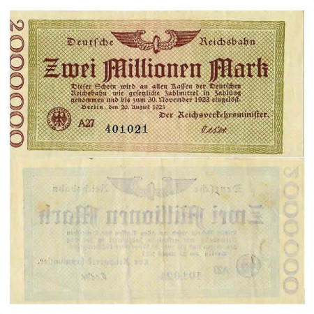 "1923 * Billet Allemagne Chemin de Fer 2 Millions - 2.000.000 Mark ""Deutsche Reichsbahn Berlin"" (pS1012) TTB+"