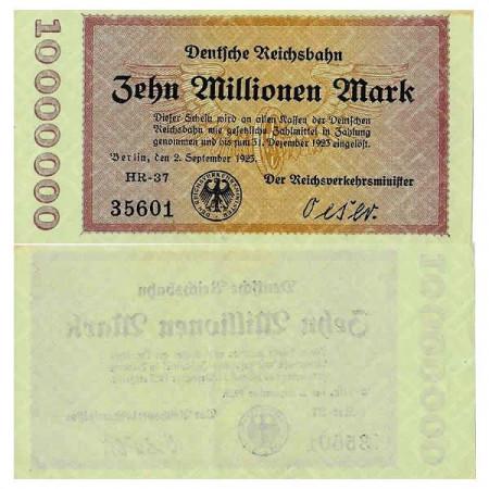 """1923 * Billet Allemagne Chemin de Fer 10 Millions - 10.000.000 Mark """"Deutsche Reichsbahn Berlin"""" (pS1014) SUP"""