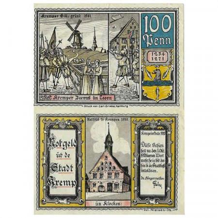 """1920 * Notgeld Allemagne 100 Pfennig """"Schleswig-Holstein - Krempe"""" (742) TTB"""