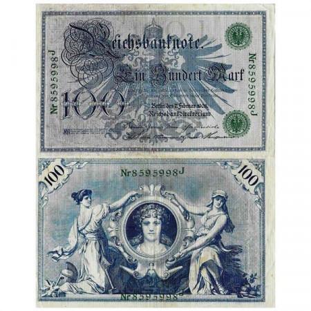 """1908 * Billet Allemagne Empire 100 Mark """"Deuxième Reich - Eagle"""" (p34) TTB"""