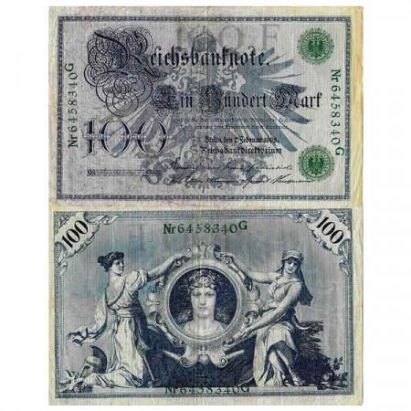 """1908 * Billet Allemagne Empire 100 Mark """"Deuxième Reich - Eagle"""" (p34) TB"""