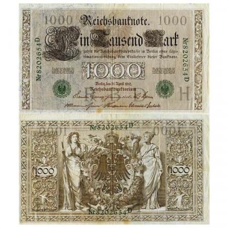 """1910 * Billet Allemagne Empire 1000 Mark """"Deuxième Reich"""" (p45b) TB+"""