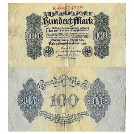 """1922 * Billet Allemagne Weimar 100 Mark """"Reichsbanknote"""" (p75) TB+"""