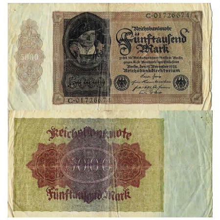 """1922 * Billet Allemagne Weimar 5000 Mark """"Reichsbanknote"""" (p78) TB"""