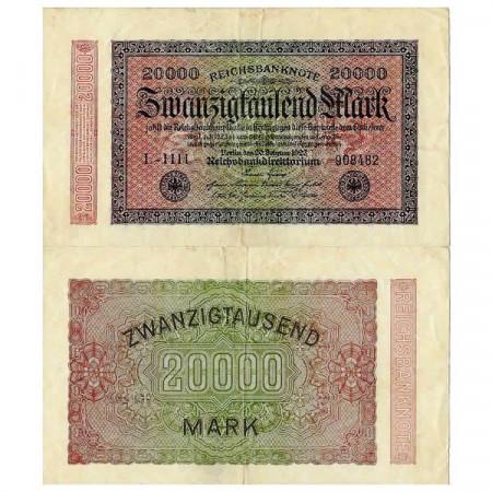 """1923 * Billet Allemagne Weimar 20.000 Mark """"Reichsbanknote"""" (p85) TB"""