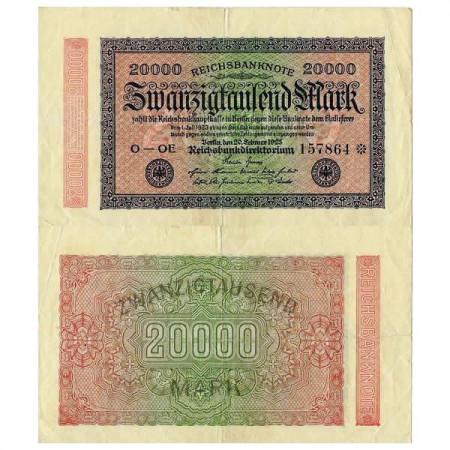 """1922 * Billet Allemagne Weimar 20.000 Mark """"Reichsbanknote"""" (p85c) TTB"""