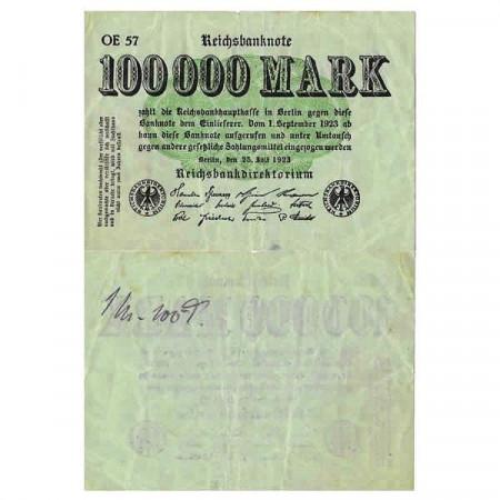 """1923 * Billet Allemagne Weimar 100.000 Mark """"Reichsbanknote"""" (p91a) TTB"""
