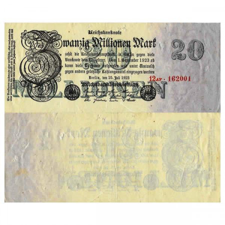 """1923 * Billet Allemagne Weimar 20 Millions - 20.000.000 Mark """"Reichsbanknote"""" (p97b) prTTB"""