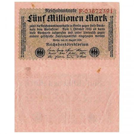 """1923 * Billet Allemagne Weimar 5 Millions - 5.000.000 Mark """"Reichsbanknote"""" (p105) TTB"""