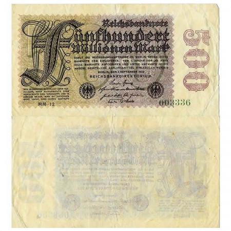 """1923 * Billet Allemagne Weimar 500 Millions - 500.000.000 Mark """"Reichsbanknote"""" (p110d) TTB"""