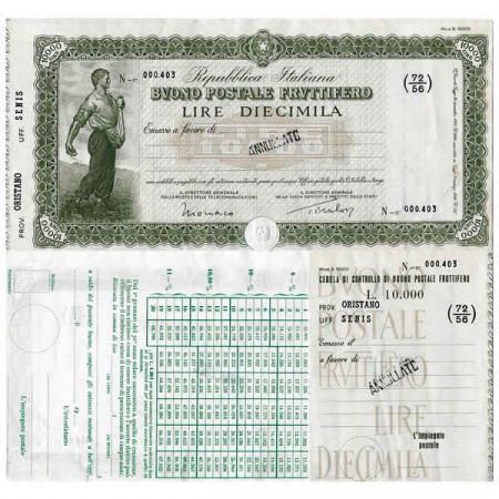 """1926 * Buono Postale Fruttifero Italie 10.000 Lire """"Oristano - Senis - Annullato"""" SUP"""