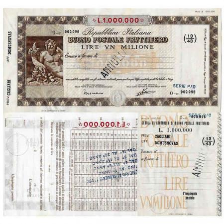 """1926 * Buono Postale Fruttifero Italie 1 Milione - 1.000.000 Lire """"Cagliari - Domusnovas - Annullato"""" SUP"""