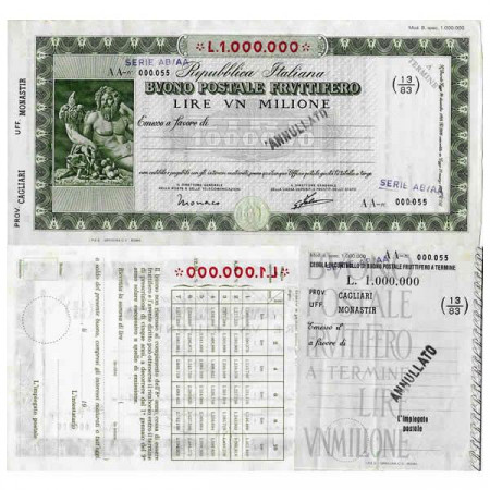 """1926 * Buono Postale Fruttifero Italie 1 Milione - 1.000.000 Lire """"Cagliari - Monastir - Annullato"""" SUP"""