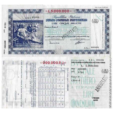 """1926 * Buono Postale Fruttifero Italie 5 Milioni - 5.000.000 Lire """"Cagliari - Giba - Annullato"""" SUP"""