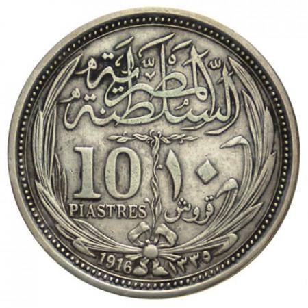 "AH1335- 1916 * 10 Piastres (Qirsh) Argent Égypte ""Hussein Kamil"" (KM 319) TTB+"