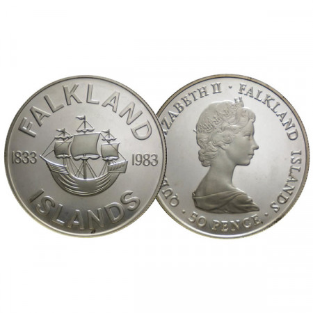 """1983 * 50 Pence Argent Îles Malouines """"150th British Rule"""" (KM 19a) BE"""