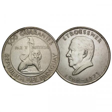 """1968 * 300 Guaranies Argent Paraguay """"4ème Mandat du Président Stroessner"""" (KM 29) TTB+"""