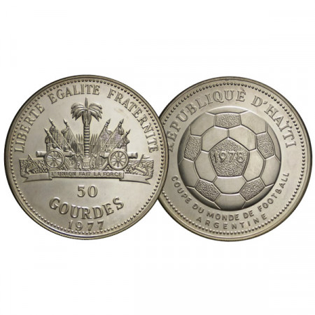 """1977 * 50 Gourdes Haiti """"1978 World Cup"""" (KM 127) BE"""