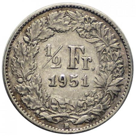 """1951 B * 1/2 Franc Argent Suisse """"Standing Helvetia"""" (KM 23) TTB"""